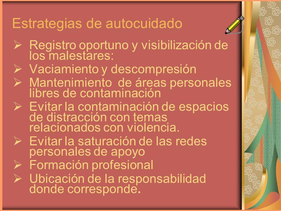 Estrategias de autocuidado Registro oportuno y visibilización de los malestares: Vaciamiento y descompresión Mantenimiento de áreas personales libres