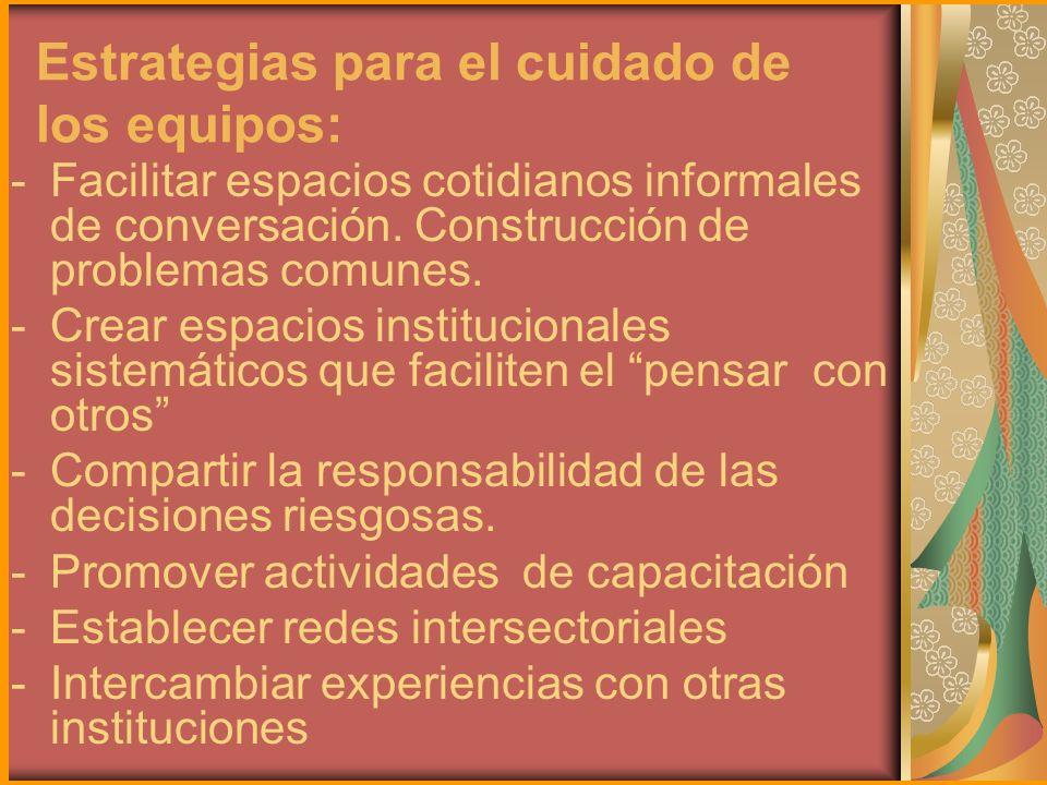 Estrategias para el cuidado de los equipos: -Facilitar espacios cotidianos informales de conversación. Construcción de problemas comunes. -Crear espac