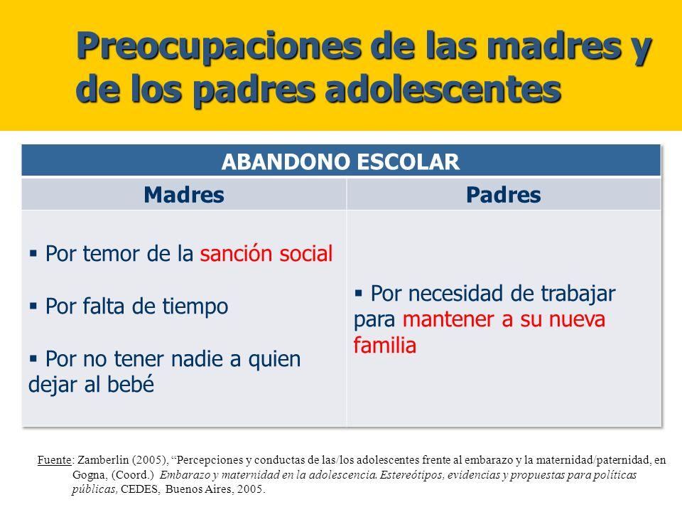 Preocupaciones de las madres y de los padres adolescentes Preocupaciones de las madres y de los padres adolescentes Fuente: Zamberlin (2005), Percepci