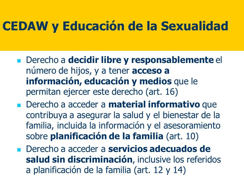 CEDAW y Educación de la Sexualidad Derecho a decidir libre y responsablemente el número de hijos, y a tener acceso a información, educación y medios q