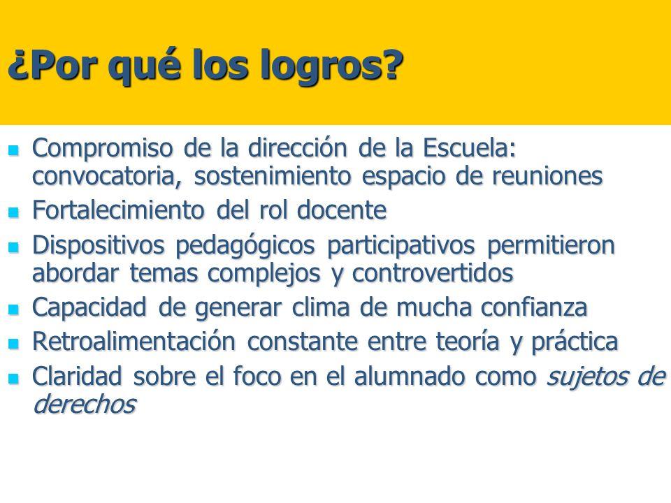 ¿Por qué los logros? Compromiso de la dirección de la Escuela: convocatoria, sostenimiento espacio de reuniones Compromiso de la dirección de la Escue