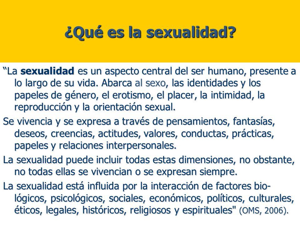 ¿Qué es la sexualidad? La sexualidad es un aspecto central del ser humano, presente a lo largo de su vida. Abarca al sexo, las identidades y los papel