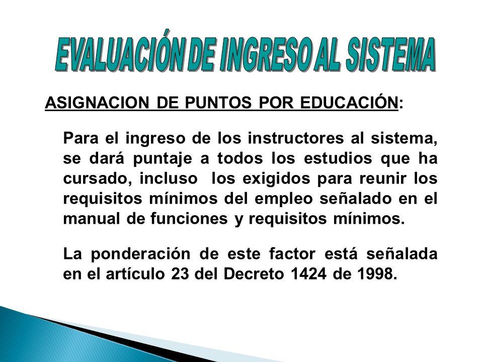ASIGNACION DE PUNTOS POR EDUCACIÓN: Para el ingreso de los instructores al sistema, se dará puntaje a todos los estudios que ha cursado, incluso los e