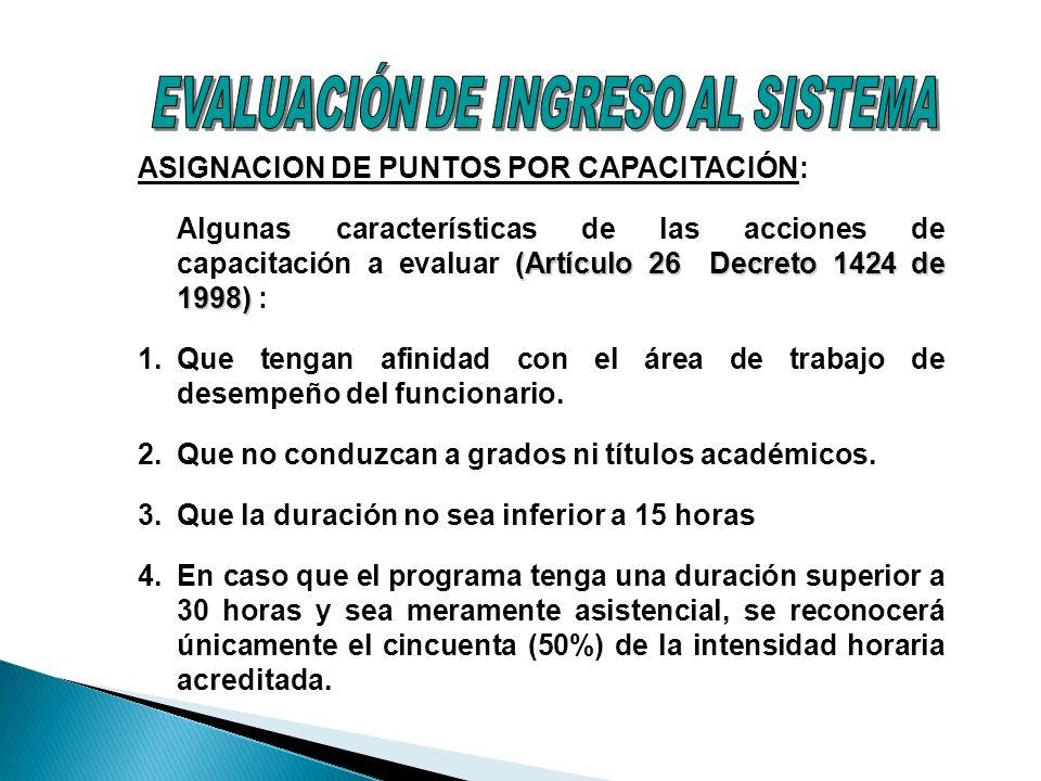 ASIGNACION DE PUNTOS POR CAPACITACIÓN: (Artículo 26 Decreto 1424 de 1998) Algunas características de las acciones de capacitación a evaluar (Artículo