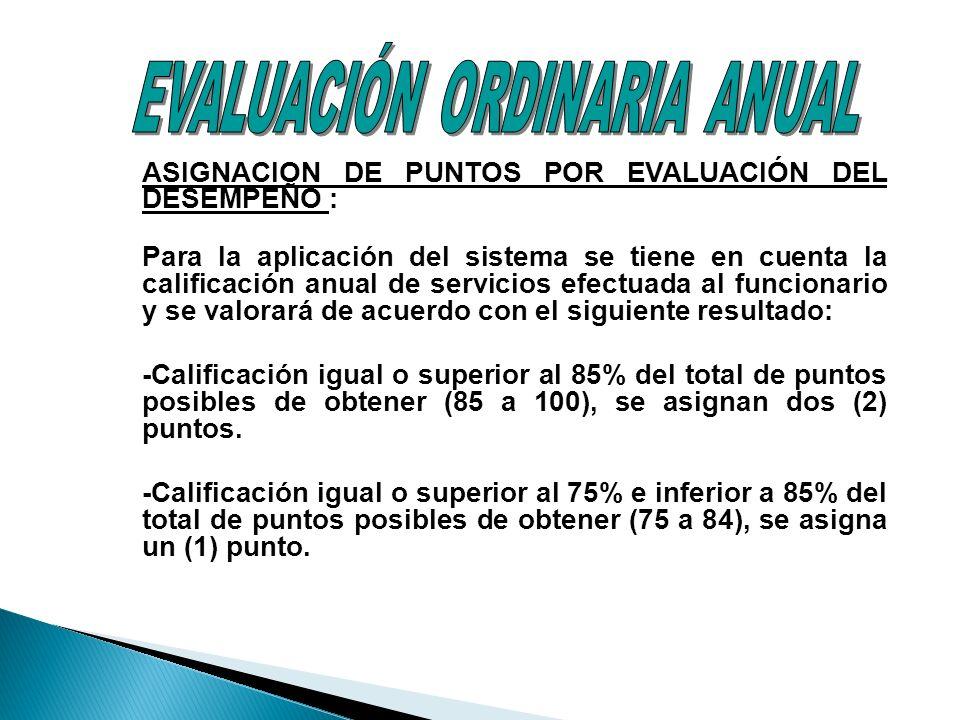 ASIGNACION DE PUNTOS POR EVALUACIÓN DEL DESEMPEÑO : Para la aplicación del sistema se tiene en cuenta la calificación anual de servicios efectuada al