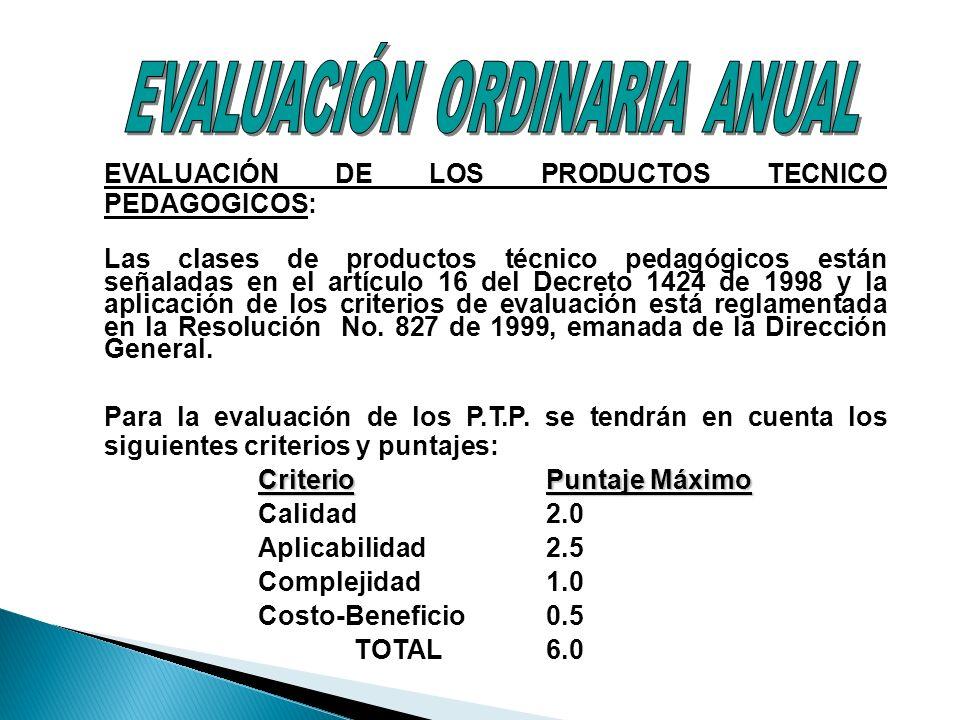 EVALUACIÓN DE LOS PRODUCTOS TECNICO PEDAGOGICOS: Las clases de productos técnico pedagógicos están señaladas en el artículo 16 del Decreto 1424 de 199