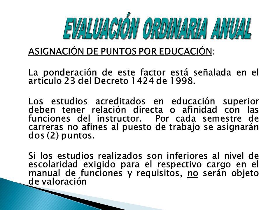 ASIGNACIÓN DE PUNTOS POR EDUCACIÓN: La ponderación de este factor está señalada en el artículo 23 del Decreto 1424 de 1998.
