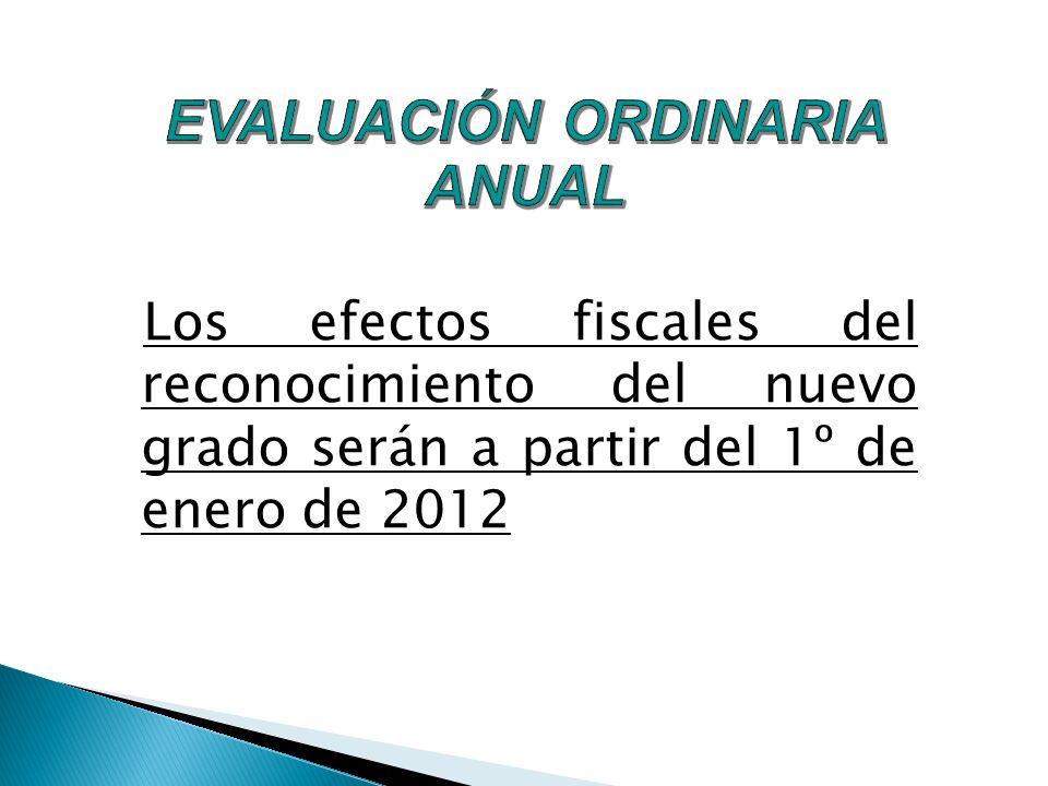 Los efectos fiscales del reconocimiento del nuevo grado serán a partir del 1º de enero de 2012