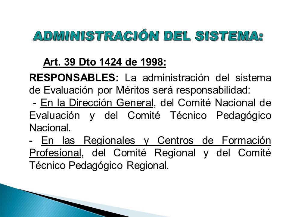 Art. 39 Dto 1424 de 1998: RESPONSABLES: La administración del sistema de Evaluación por Méritos será responsabilidad: - En la Dirección General, del C