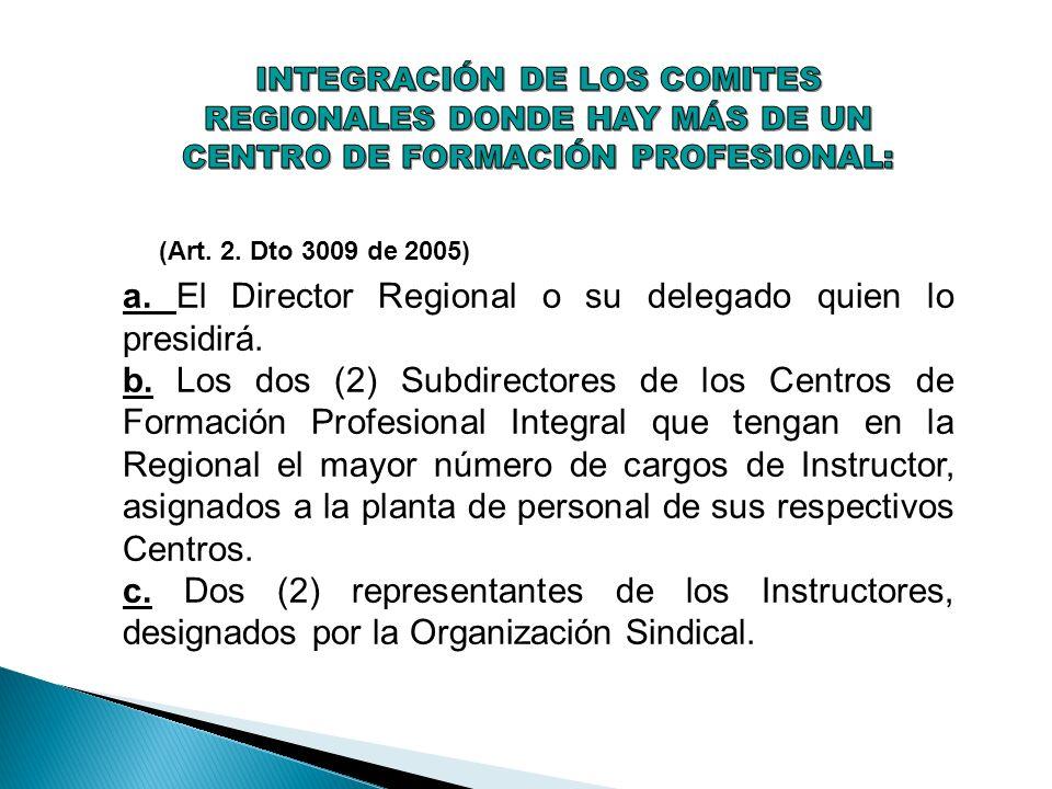 (Art. 2. Dto 3009 de 2005) a. El Director Regional o su delegado quien lo presidirá. b. Los dos (2) Subdirectores de los Centros de Formación Profesio