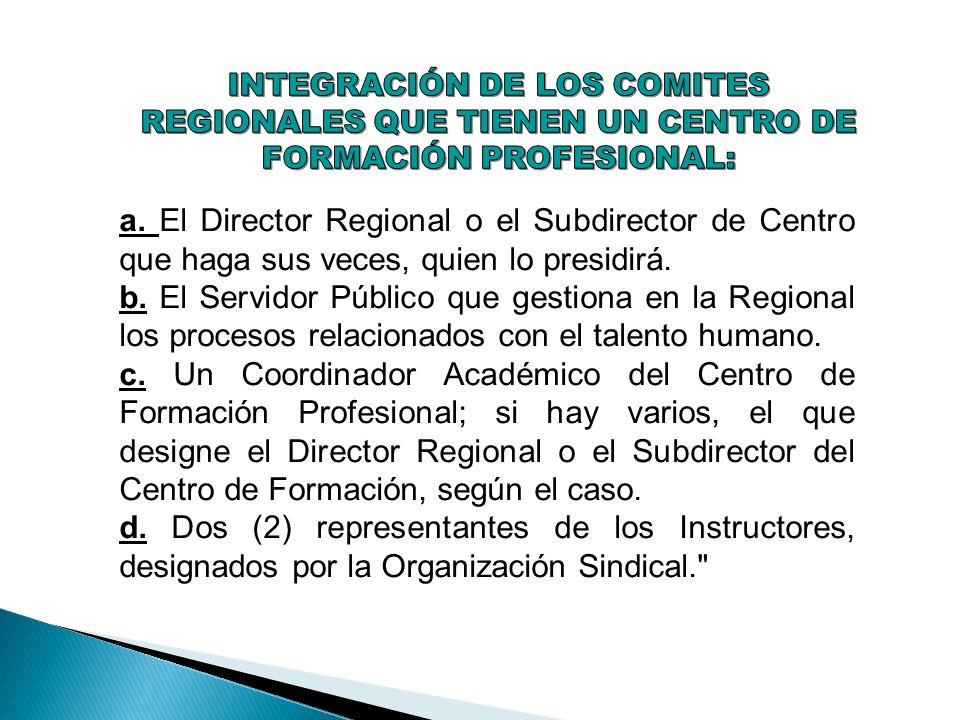 a. El Director Regional o el Subdirector de Centro que haga sus veces, quien lo presidirá. b. El Servidor Público que gestiona en la Regional los proc