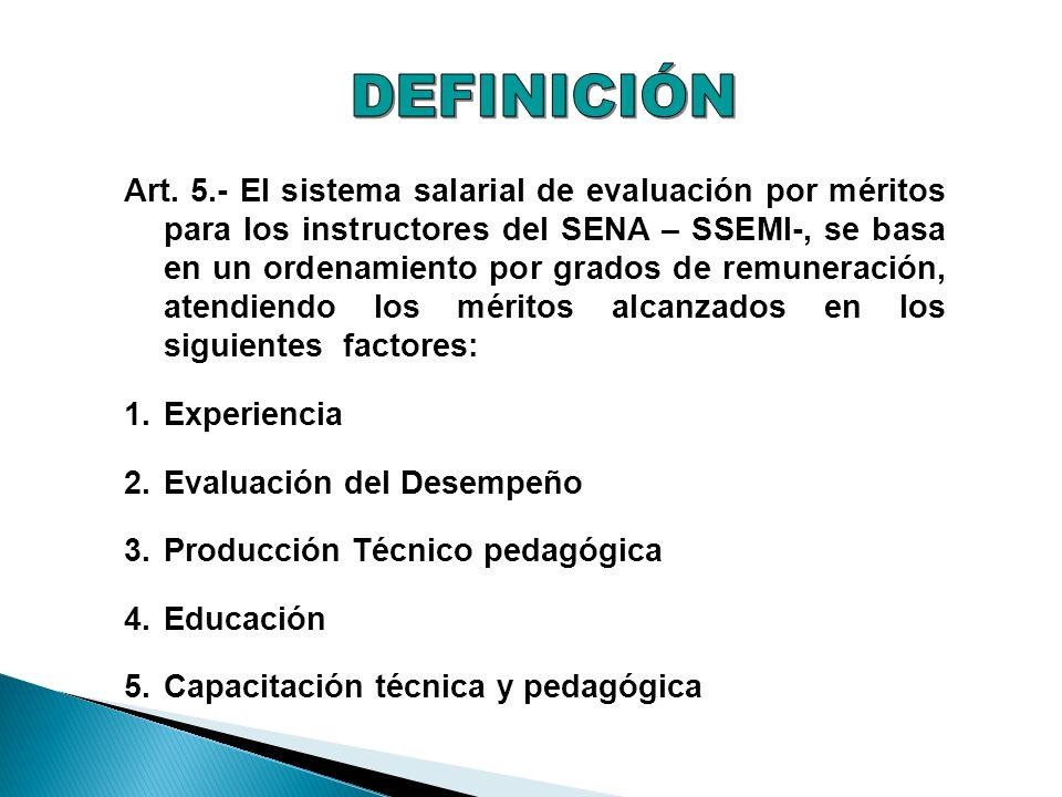 Art. 5.- El sistema salarial de evaluación por méritos para los instructores del SENA – SSEMI-, se basa en un ordenamiento por grados de remuneración,