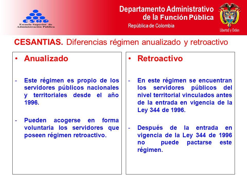 Departamento Administrativo de la Función Pública República de Colombia CESANTIAS. Diferencias régimen anualizado y retroactivo Anualizado -Este régim
