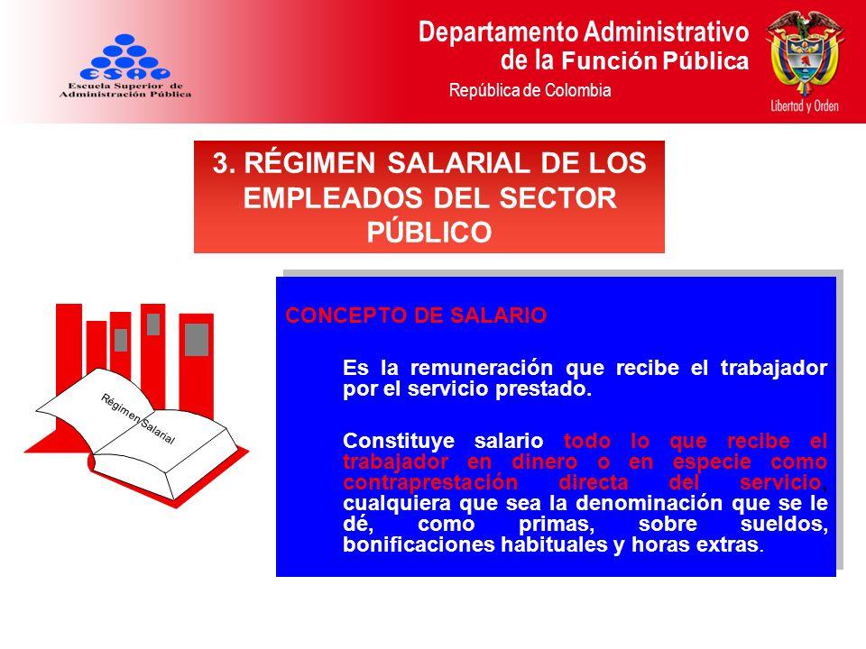 Departamento Administrativo de la Función Pública República de Colombia CONCEPTO DE SALARIO Es la remuneración que recibe el trabajador por el servici