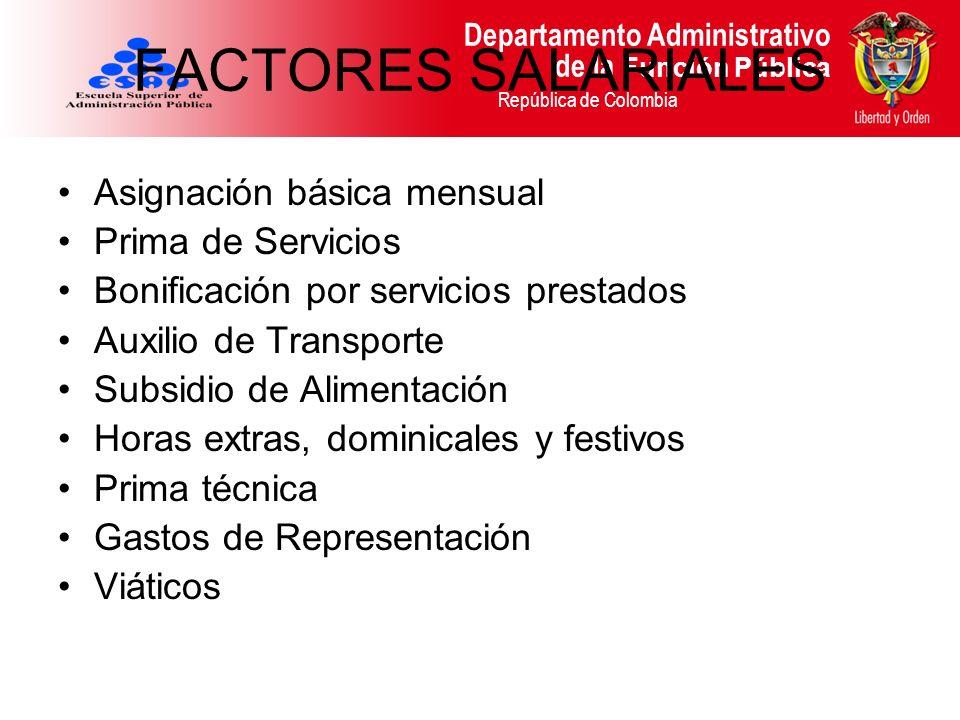 Departamento Administrativo de la Función Pública República de Colombia FACTORES SALARIALES Asignación básica mensual Prima de Servicios Bonificación