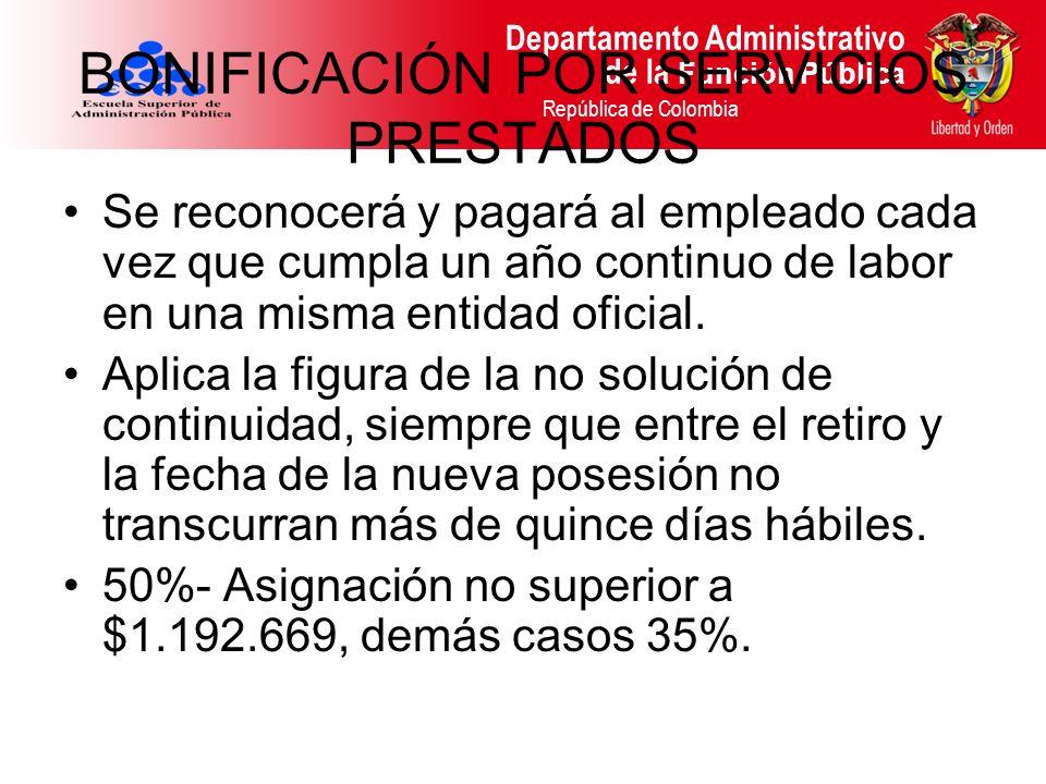 Departamento Administrativo de la Función Pública República de Colombia BONIFICACIÓN POR SERVICIOS PRESTADOS Se reconocerá y pagará al empleado cada v