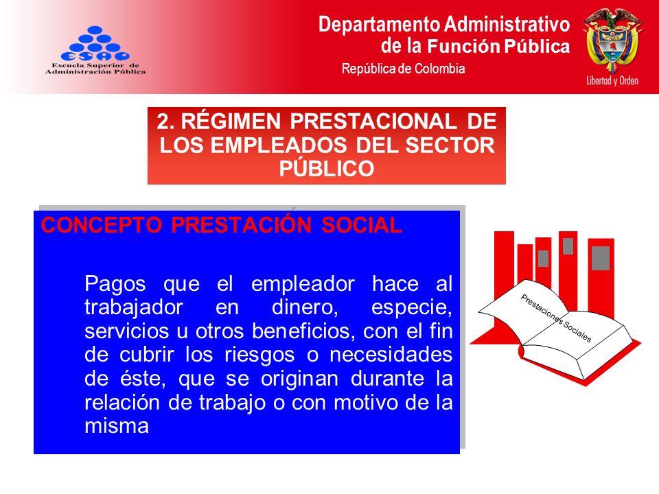Departamento Administrativo de la Función Pública República de Colombia CONCEPTO PRESTACIÓN SOCIAL Pagos que el empleador hace al trabajador en dinero