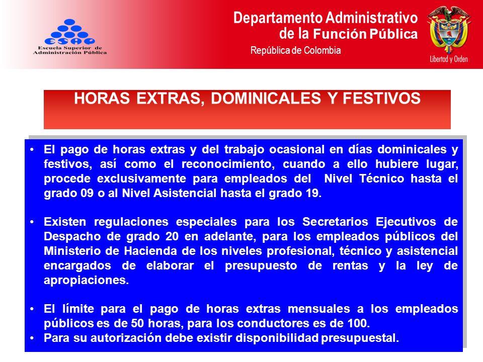 Departamento Administrativo de la Función Pública República de Colombia El pago de horas extras y del trabajo ocasional en días dominicales y festivos