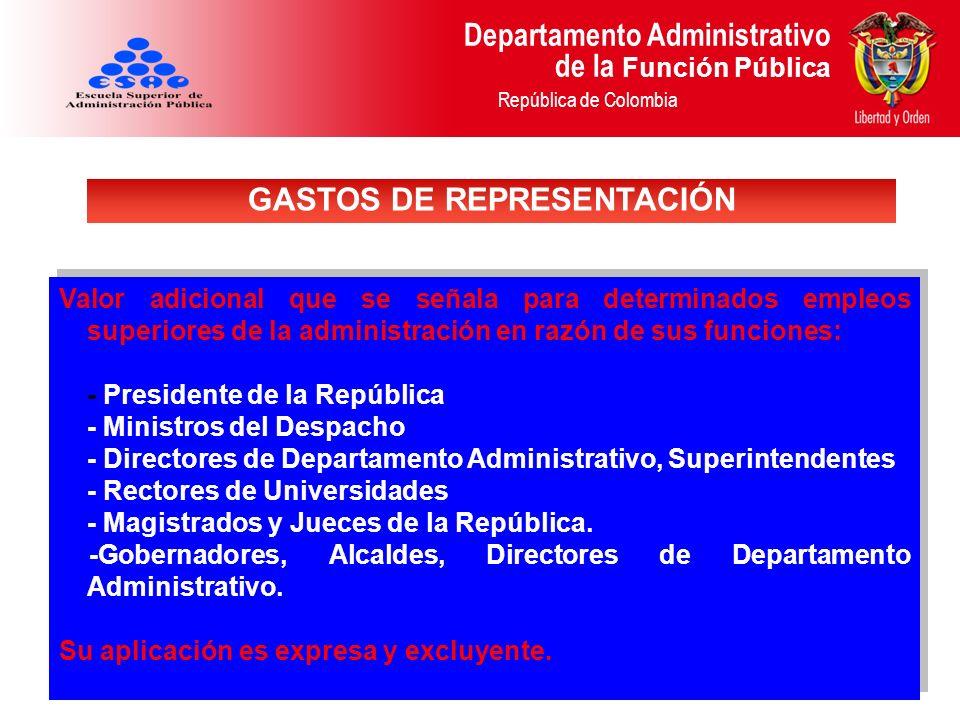 Departamento Administrativo de la Función Pública República de Colombia Valor adicional que se señala para determinados empleos superiores de la admin