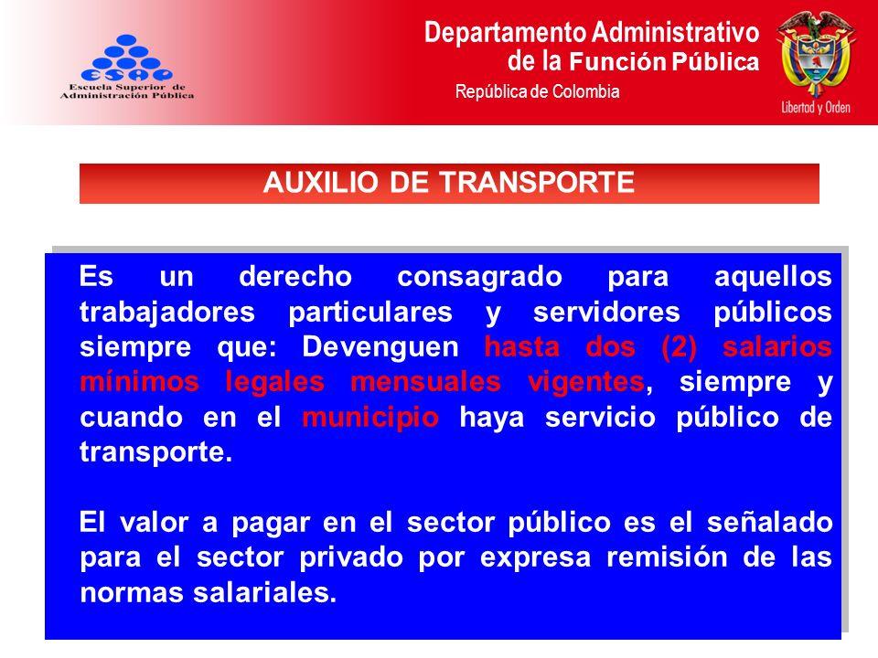Departamento Administrativo de la Función Pública República de Colombia Es un derecho consagrado para aquellos trabajadores particulares y servidores