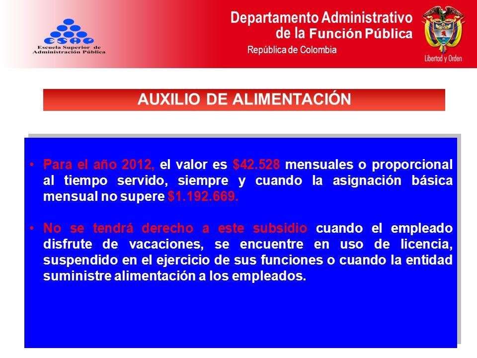 Departamento Administrativo de la Función Pública República de Colombia Para el año 2012, el valor es $42.528 mensuales o proporcional al tiempo servi