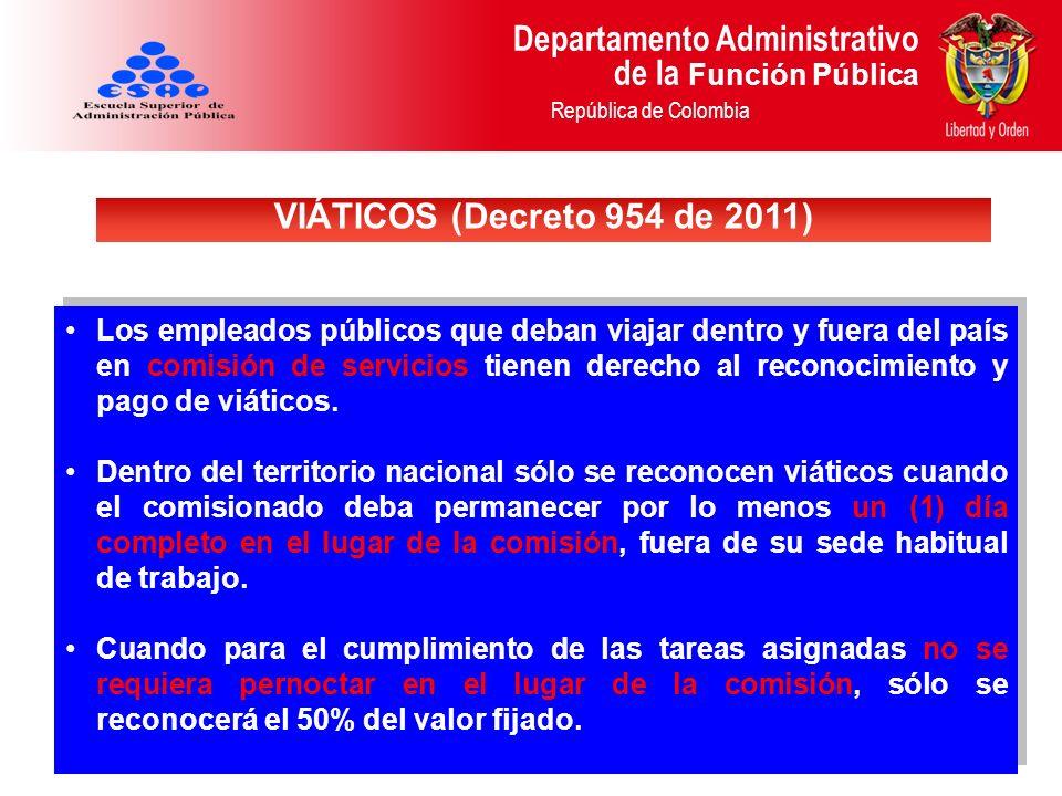 Departamento Administrativo de la Función Pública República de Colombia Los empleados públicos que deban viajar dentro y fuera del país en comisión de