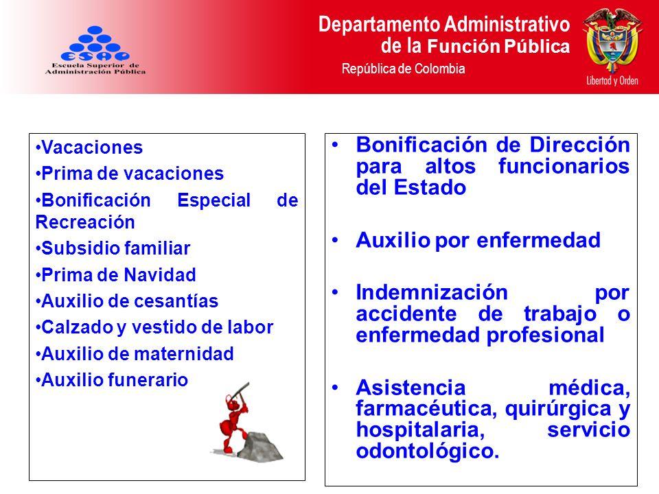 Departamento Administrativo de la Función Pública República de Colombia Vacaciones Prima de vacaciones Bonificación Especial de Recreación Subsidio fa
