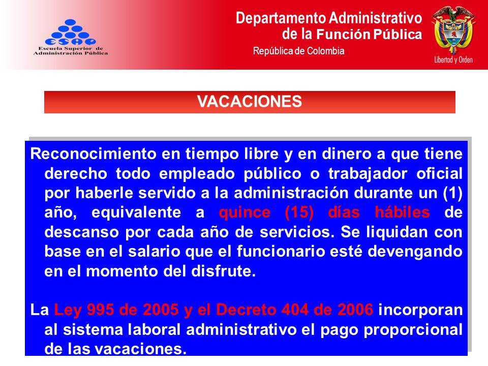 Departamento Administrativo de la Función Pública República de Colombia Reconocimiento en tiempo libre y en dinero a que tiene derecho todo empleado p