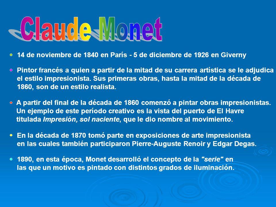 Pintor francés a quien a partir de la mitad de su carrera artística se le adjudica el estilo impresionista. Sus primeras obras, hasta la mitad de la d