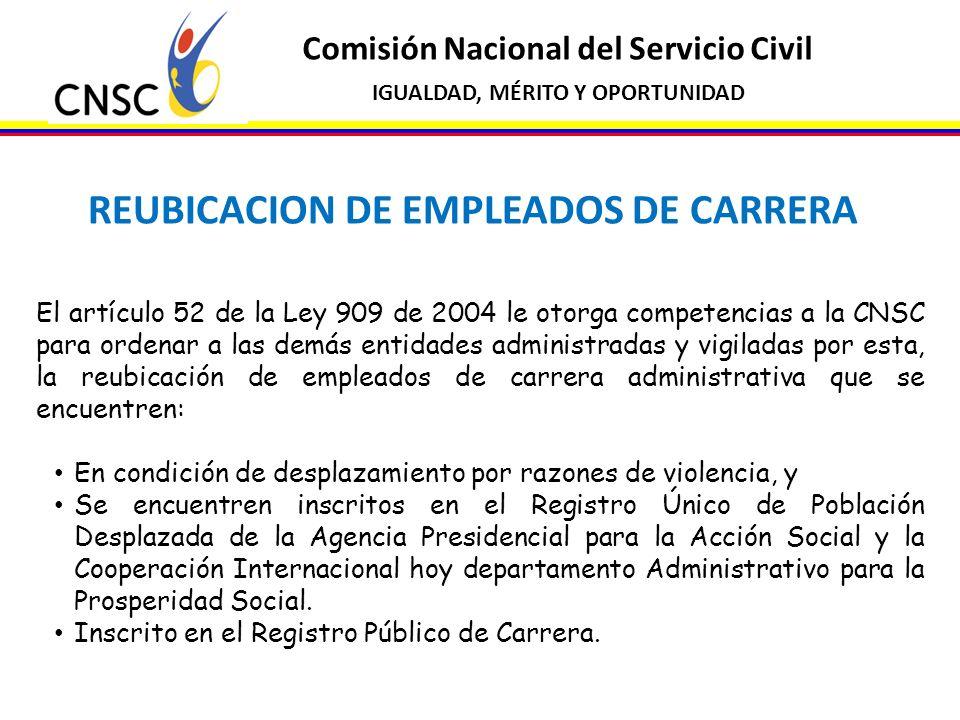Comisión Nacional del Servicio Civil IGUALDAD, MÉRITO Y OPORTUNIDAD REUBICACION DE EMPLEADOS DE CARRERA El artículo 52 de la Ley 909 de 2004 le otorga