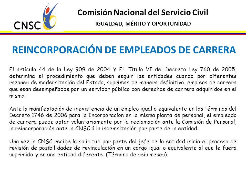 Comisión Nacional del Servicio Civil IGUALDAD, MÉRITO Y OPORTUNIDAD REINCORPORACIÓN DE EMPLEADOS DE CARRERA El artículo 44 de la Ley 909 de 2004 Y EL