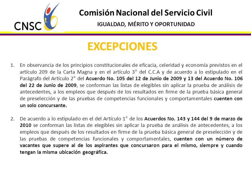 Comisión Nacional del Servicio Civil IGUALDAD, MÉRITO Y OPORTUNIDAD EXCEPCIONES 1.En observancia de los principios constitucionales de eficacia, celer