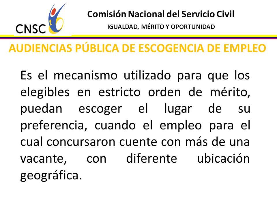 Comisión Nacional del Servicio Civil IGUALDAD, MÉRITO Y OPORTUNIDAD AUDIENCIAS PÚBLICA DE ESCOGENCIA DE EMPLEO Es el mecanismo utilizado para que los