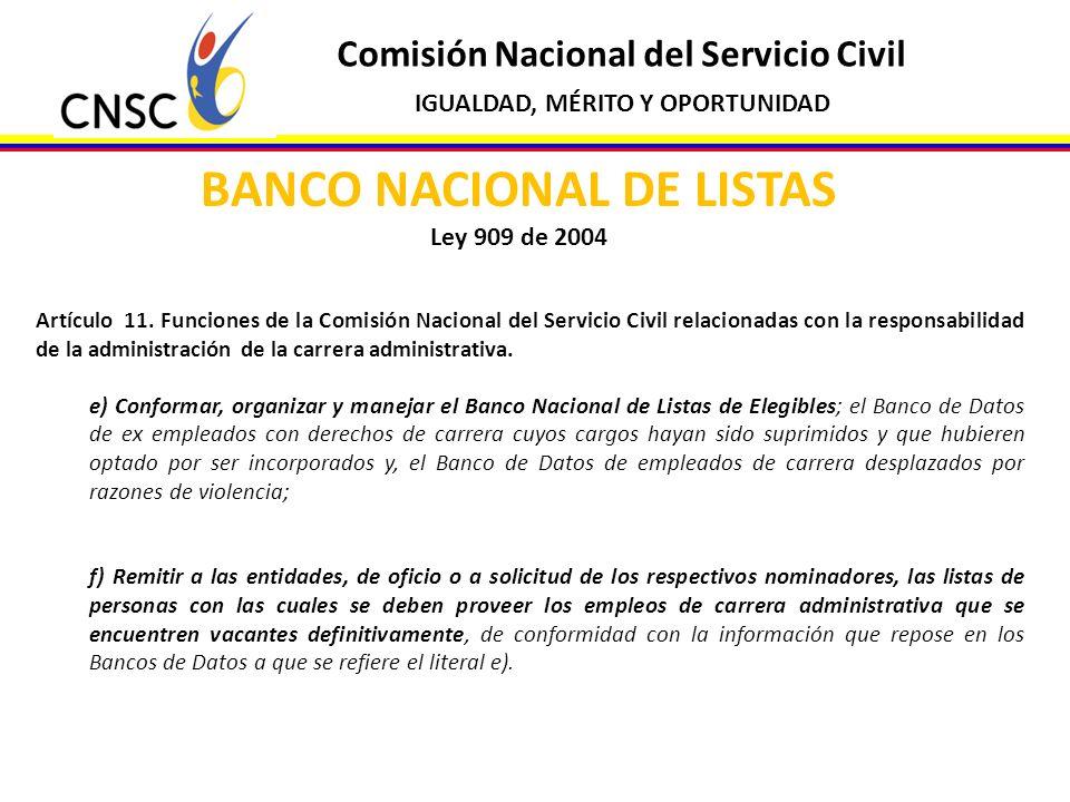Comisión Nacional del Servicio Civil IGUALDAD, MÉRITO Y OPORTUNIDAD BANCO NACIONAL DE LISTAS Ley 909 de 2004 Artículo 11. Funciones de la Comisión Nac