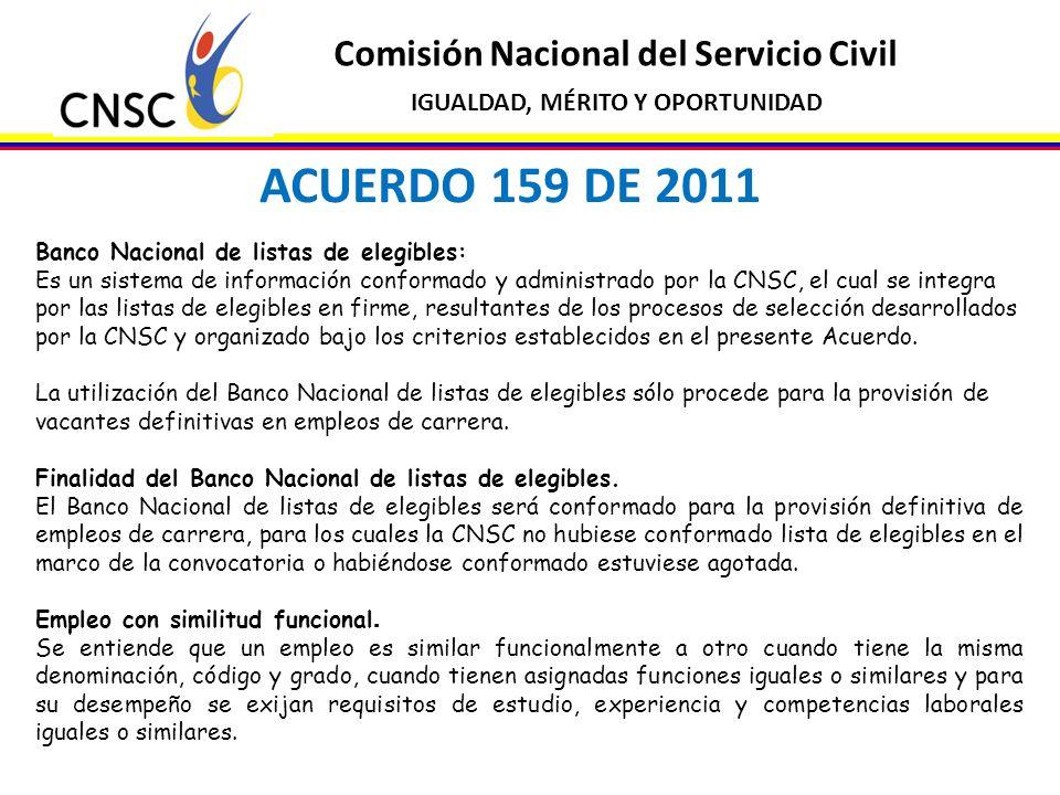 Comisión Nacional del Servicio Civil IGUALDAD, MÉRITO Y OPORTUNIDAD ACUERDO 159 DE 2011 Banco Nacional de listas de elegibles: Es un sistema de inform