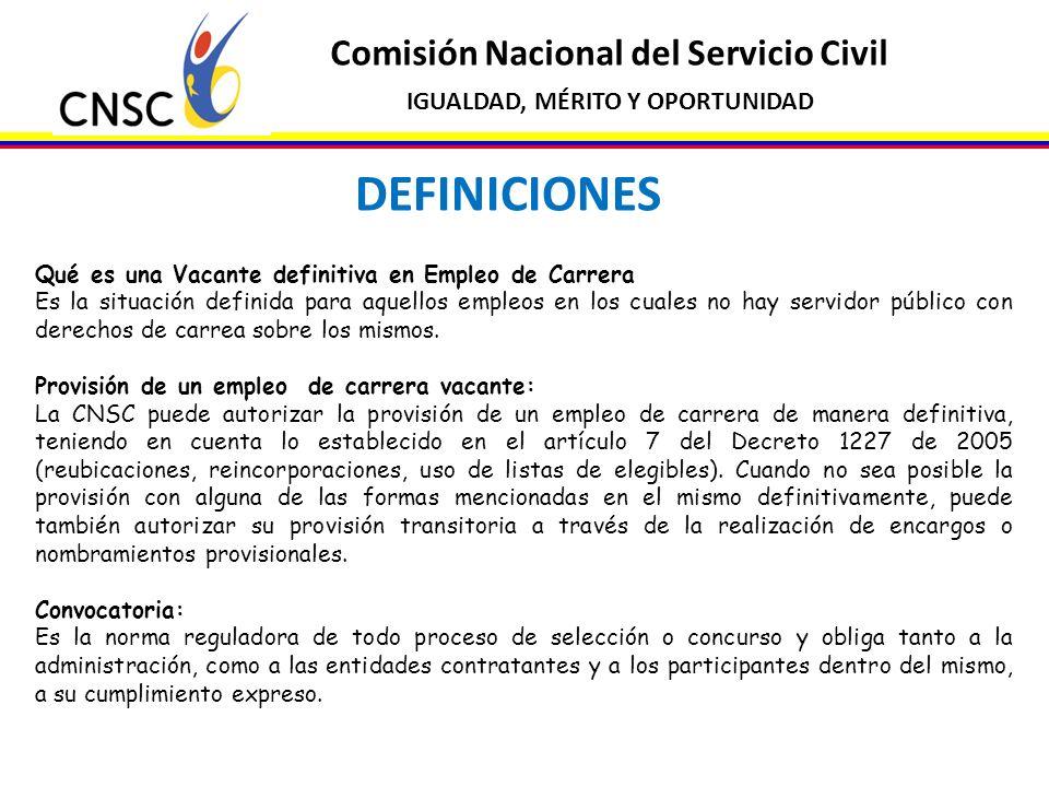 Comisión Nacional del Servicio Civil IGUALDAD, MÉRITO Y OPORTUNIDAD DEFINICIONES Qué es una Vacante definitiva en Empleo de Carrera Es la situación de
