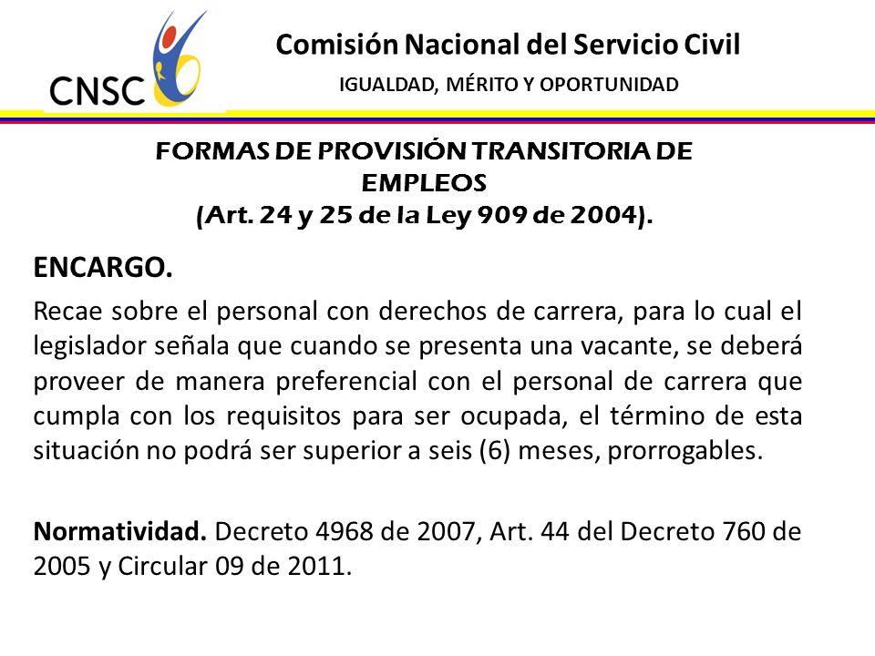 Comisión Nacional del Servicio Civil IGUALDAD, MÉRITO Y OPORTUNIDAD FORMAS DE PROVISIÓN TRANSITORIA DE EMPLEOS (Art. 24 y 25 de la Ley 909 de 2004). E