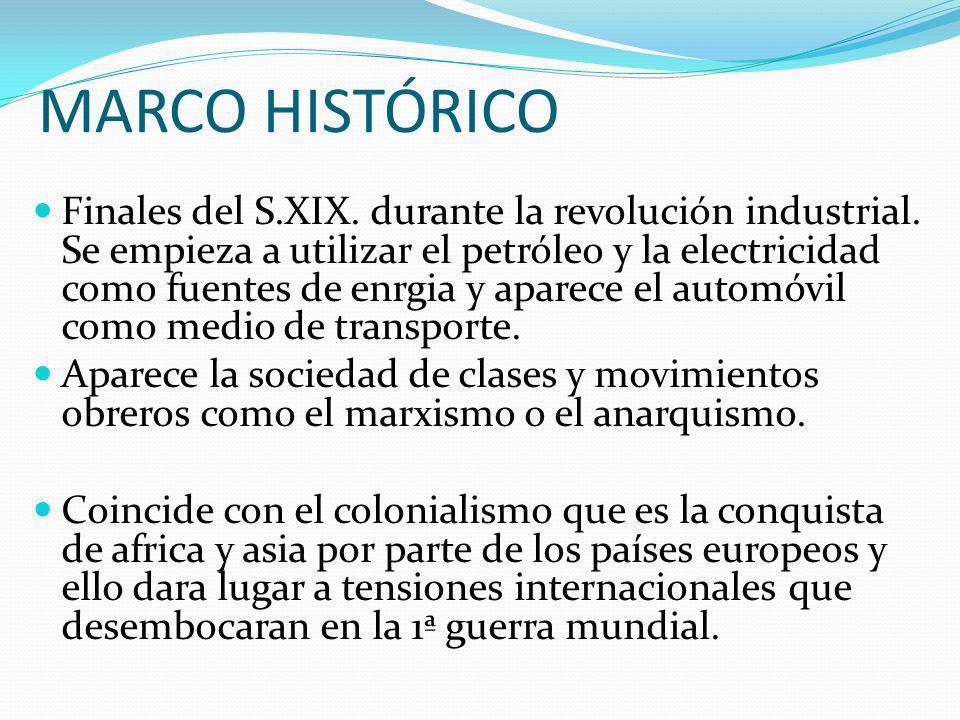 MARCO HISTÓRICO Finales del S.XIX. durante la revolución industrial. Se empieza a utilizar el petróleo y la electricidad como fuentes de enrgia y apar