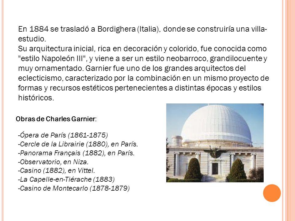 En 1884 se trasladó a Bordighera (Italia), donde se construiría una villa- estudio. Su arquitectura inicial, rica en decoración y colorido, fue conoci