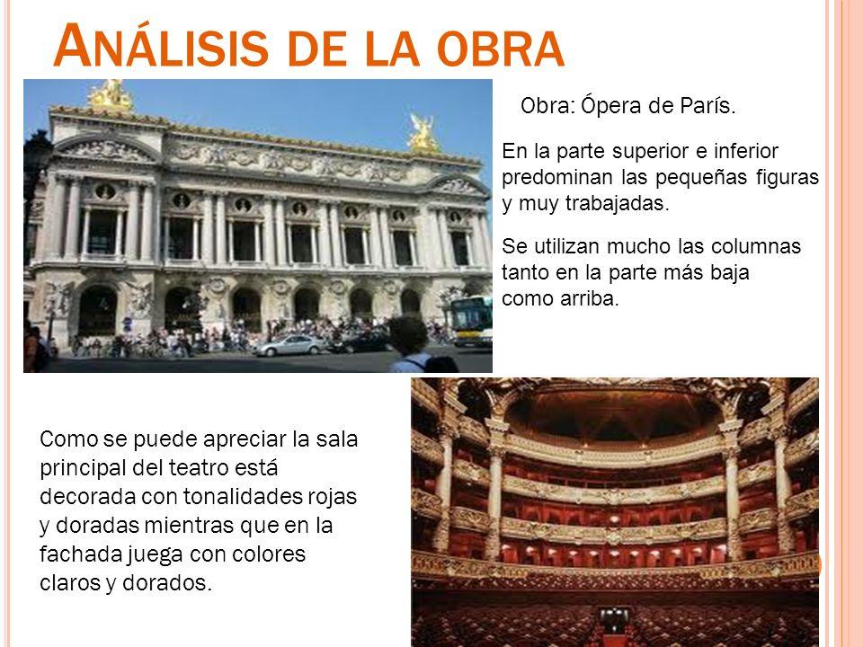 A NÁLISIS DE LA OBRA Obra: Ópera de París. Como se puede apreciar la sala principal del teatro está decorada con tonalidades rojas y doradas mientras