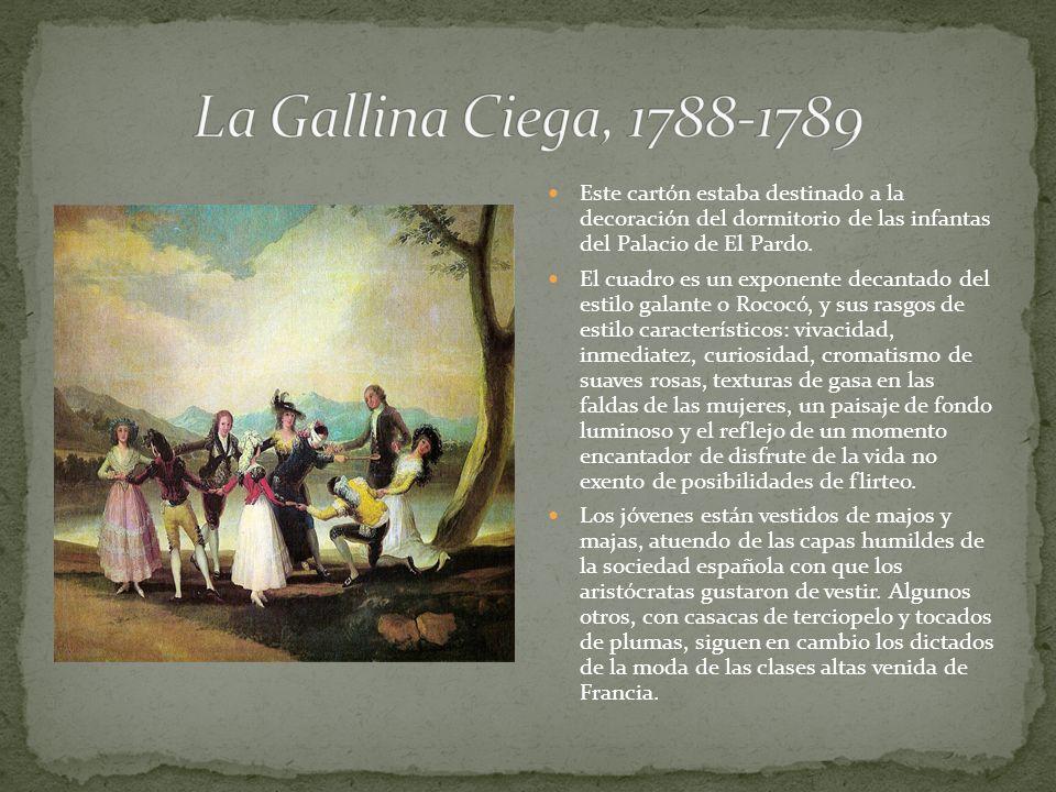 Este cartón estaba destinado a la decoración del dormitorio de las infantas del Palacio de El Pardo. El cuadro es un exponente decantado del estilo ga
