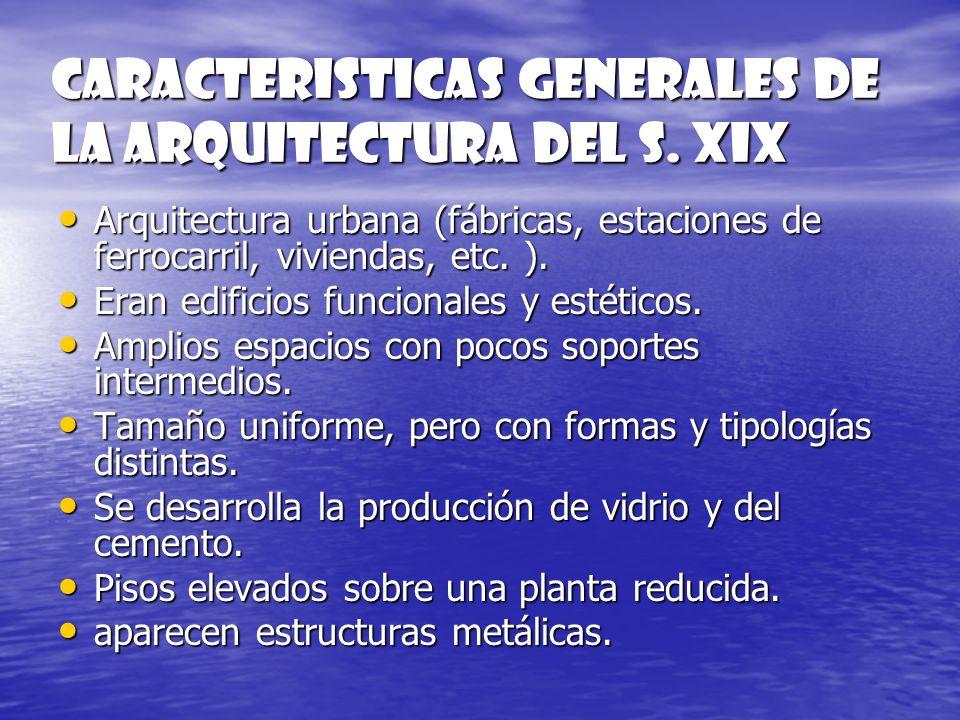 CARACTERISTICAS GENERALES DE LA ARQUITECTURA DEL S. XIX Arquitectura urbana (fábricas, estaciones de ferrocarril, viviendas, etc. ). Eran edificios fu