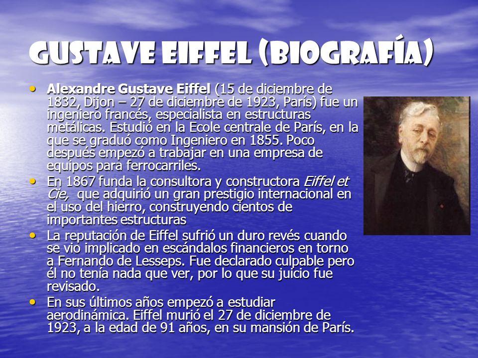 GUSTAVE EIFFEL (biografía) Alexandre Gustave Eiffel (15 de diciembre de 1832, Dijon – 27 de diciembre de 1923, París) fue un ingeniero francés, especi