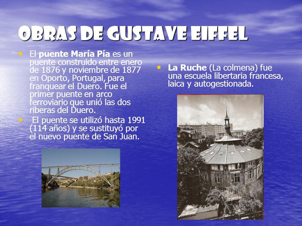 Obras de gustave eiffel El puente María Pía es un puente construido entre enero de 1876 y noviembre de 1877 en Oporto, Portugal, para franquear el Due
