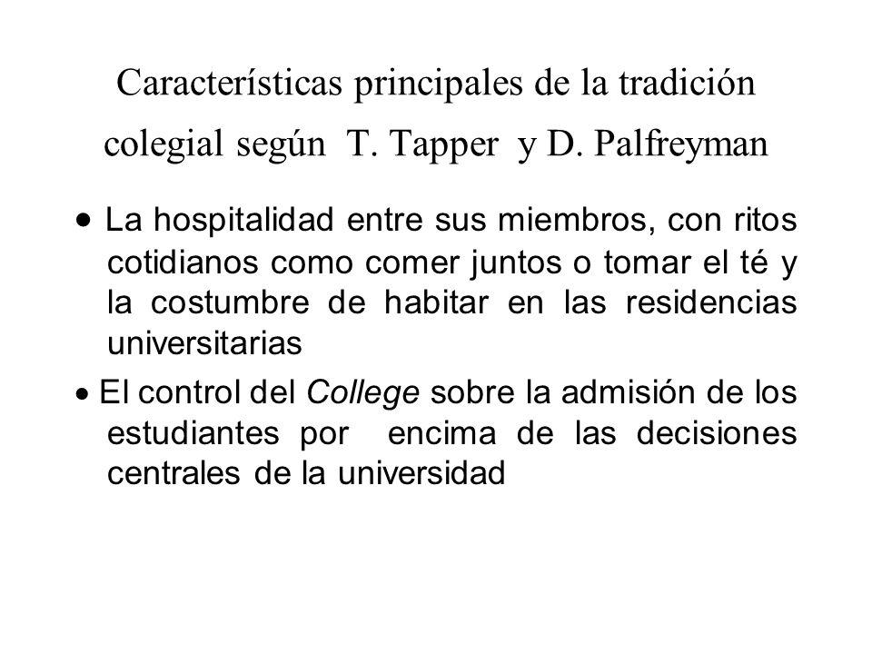 Características principales de la tradición colegial según T. Tapper y D. Palfreyman La hospitalidad entre sus miembros, con ritos cotidianos como com