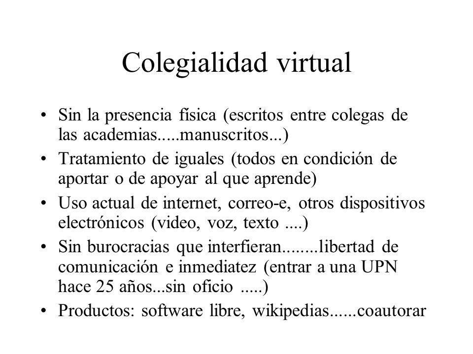 Colegialidad virtual Sin la presencia física (escritos entre colegas de las academias.....manuscritos...) Tratamiento de iguales (todos en condición d