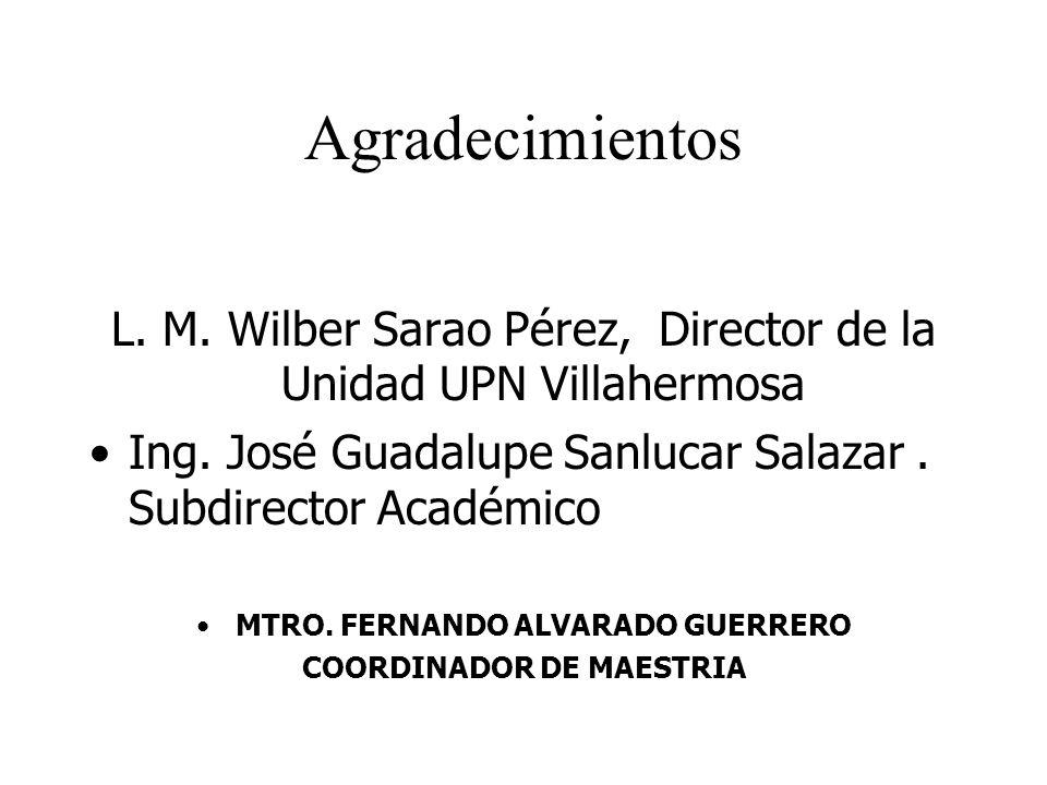 Agradecimientos L. M. Wilber Sarao Pérez, Director de la Unidad UPN Villahermosa Ing. José Guadalupe Sanlucar Salazar. Subdirector Académico MTRO. FER