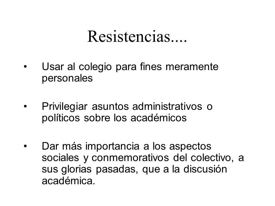 Resistencias.... Usar al colegio para fines meramente personales Privilegiar asuntos administrativos o políticos sobre los académicos Dar más importan