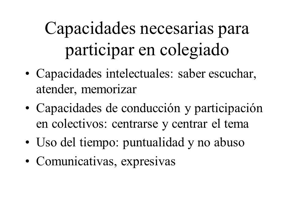 Capacidades necesarias para participar en colegiado Capacidades intelectuales: saber escuchar, atender, memorizar Capacidades de conducción y particip