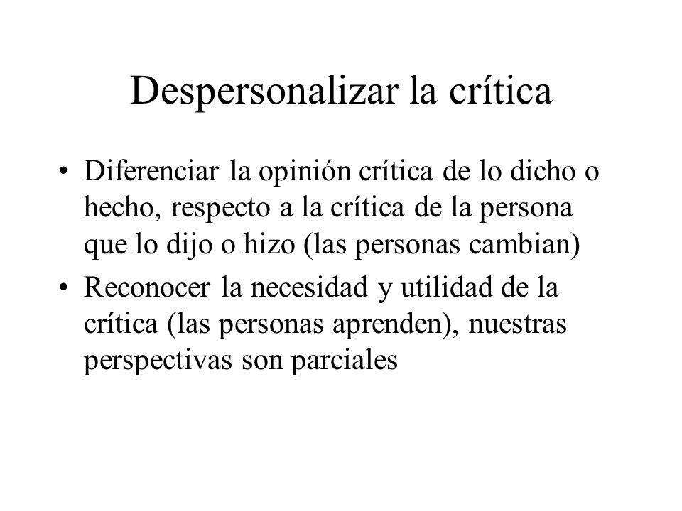 Despersonalizar la crítica Diferenciar la opinión crítica de lo dicho o hecho, respecto a la crítica de la persona que lo dijo o hizo (las personas ca